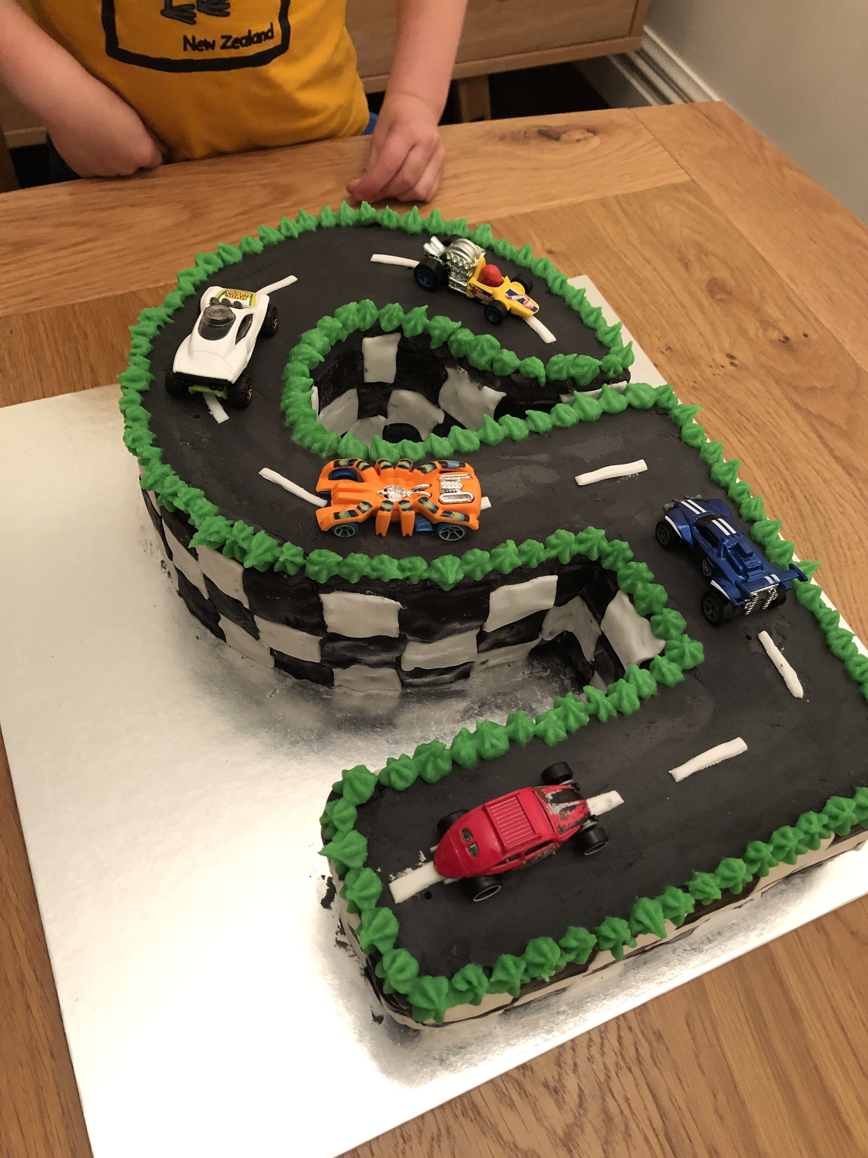 Seb had a giant 5 race track cake